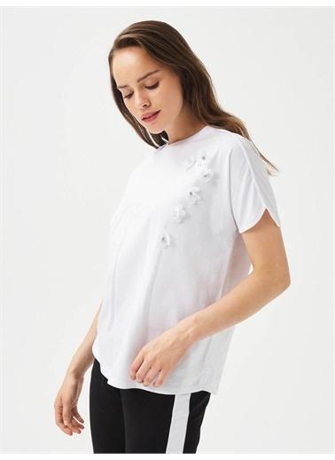 Xint XINT %100 Pamuk Yuvarlak Yaka Rahat Kesim Tişört Beyaz